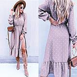 Жіноче довга сукня в горох довгий рукав низ рюш софт розмір: 42-44, 46-48, фото 2