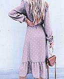 Жіноче довга сукня в горох довгий рукав низ рюш софт розмір: 42-44, 46-48, фото 8