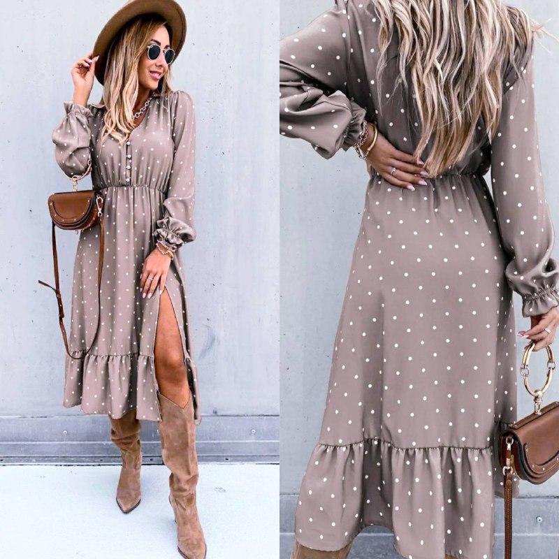 Жіноче довга сукня в горох довгий рукав низ рюш софт розмір: 42-44, 46-48