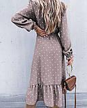 Жіноче довга сукня в горох довгий рукав низ рюш софт розмір: 42-44, 46-48, фото 6