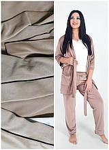 Женская велюровая пижама, плюшевый костюм: укороченный халат и штаны