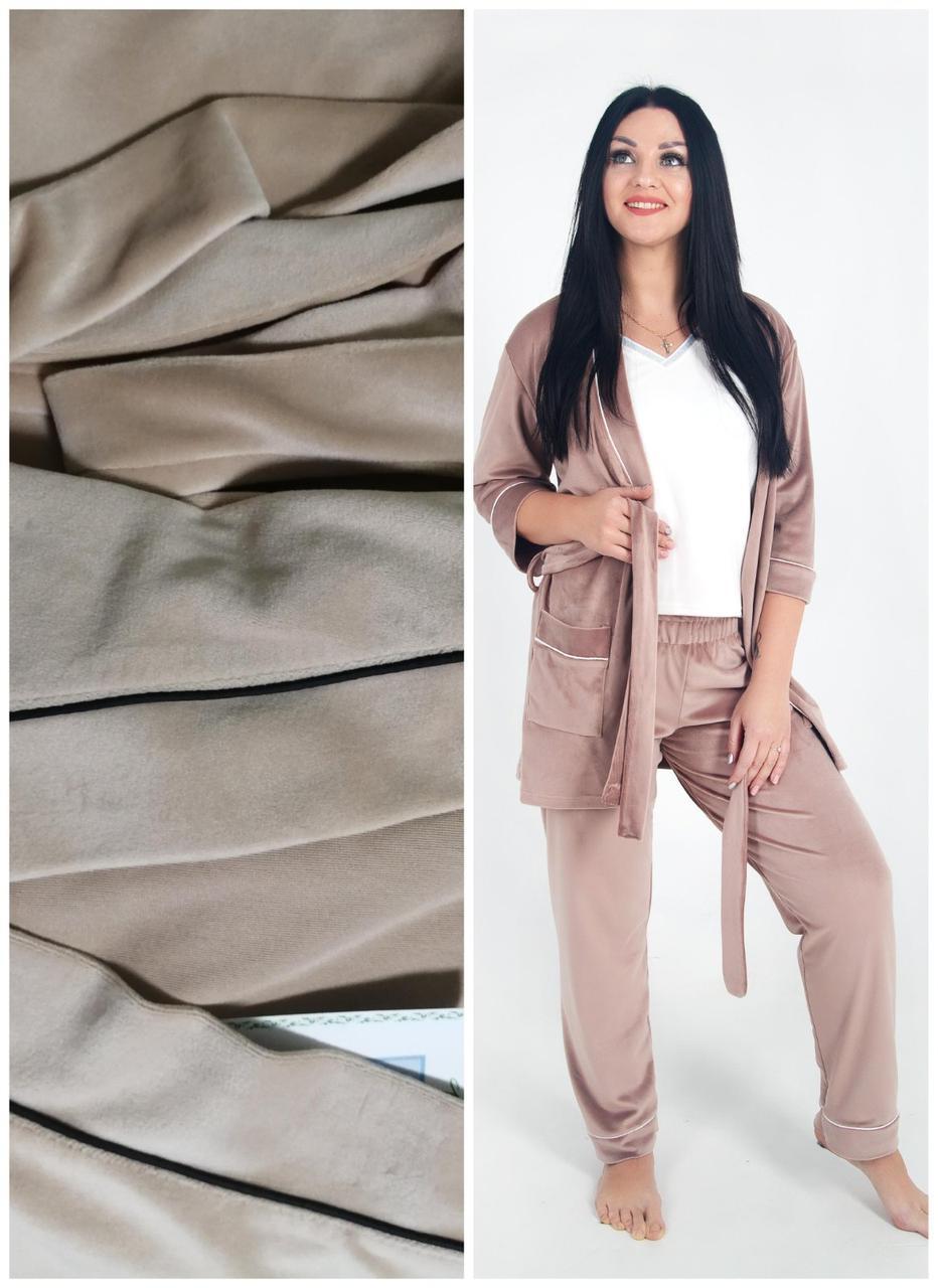 Женская пижама, плюшевый костюм: укороченный халат и штаны