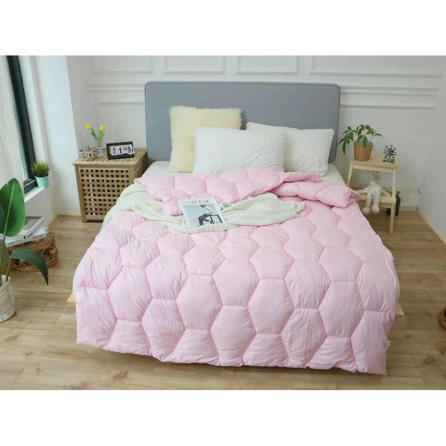 Одеяло зима ткань Микрофибра наполнитель Холлофайбер - Соты - 195х210 (розовое)