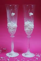 """Свадебные бокалы """"Белые розы"""" с напылением"""