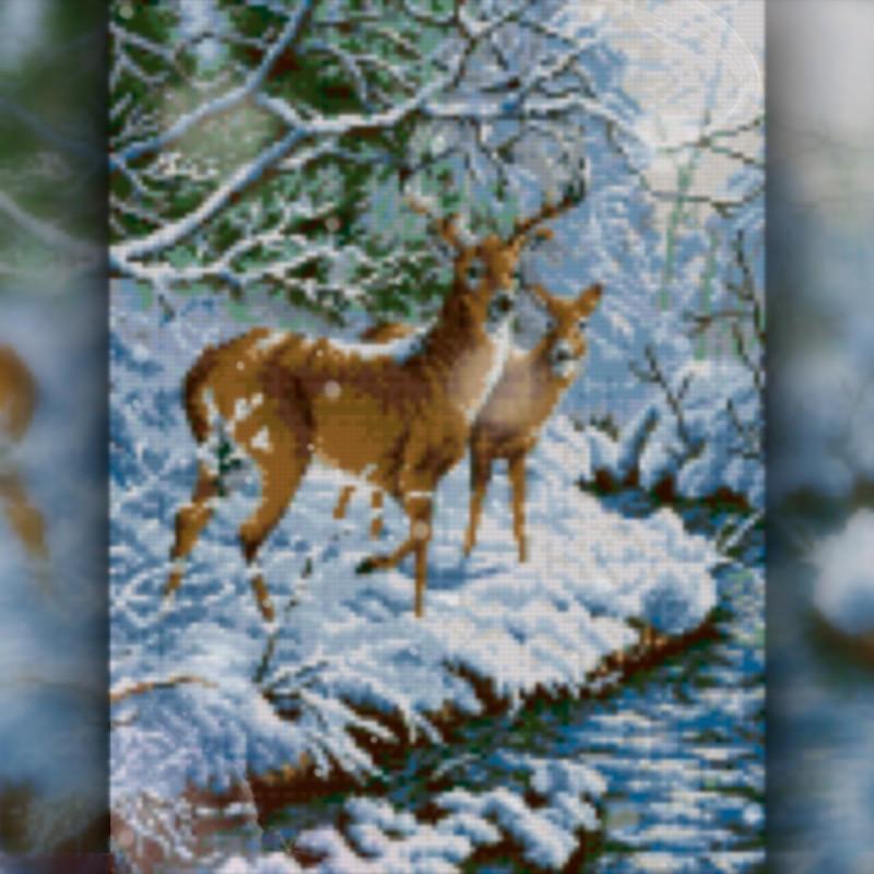 Алмазная вышивка мозаика The Wortex Diamonds Олени у ручья 30x40см TWD20037 полная зашивка квадратные стразы.