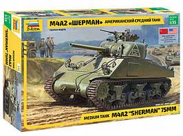 Шерман М4А2. Сборная модель американского танка в масштабе 1/35. ZVEZDA 3702