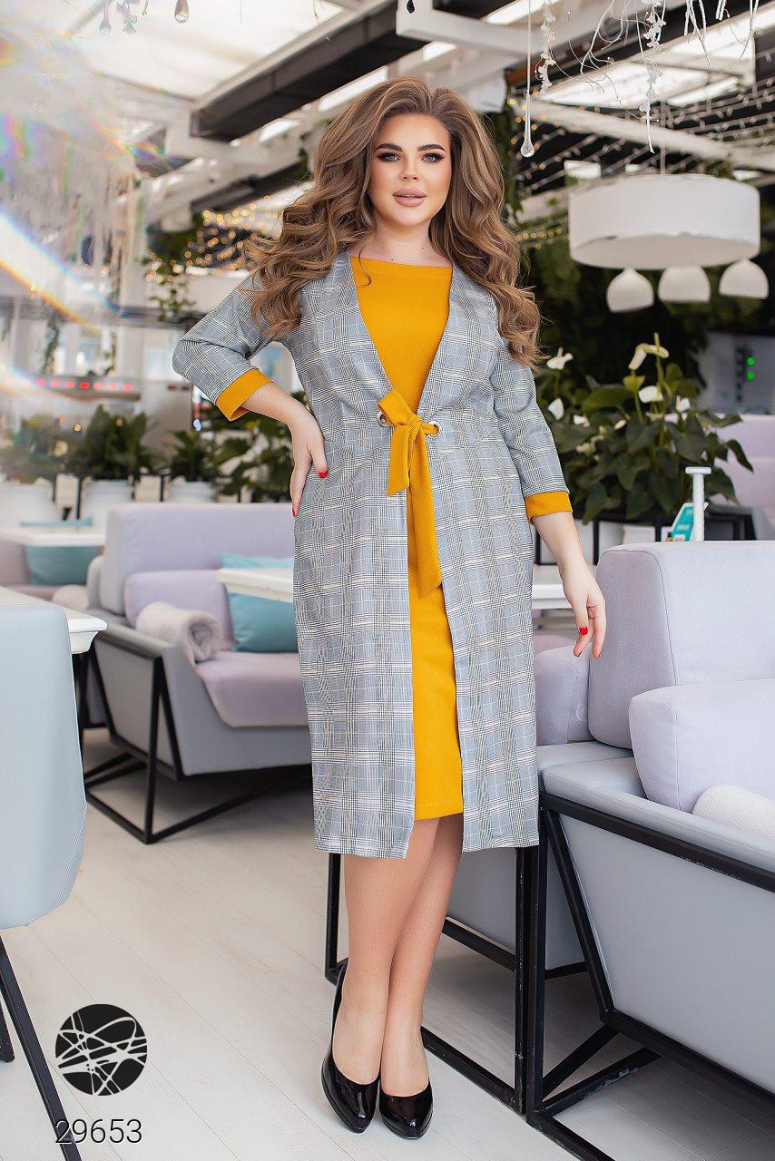 Повсякденне жіноче плаття з принтом клітка з 50 по 54 розмір