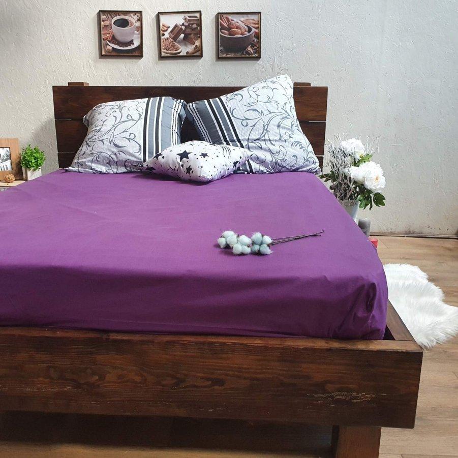 Простирадло на гумці з Бязі Голд - Колір фіолетовий - 90х200 см
