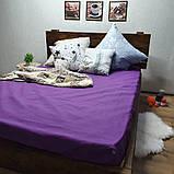 Простирадло на гумці з Бязі Голд - Колір фіолетовий - 90х200 см, фото 4