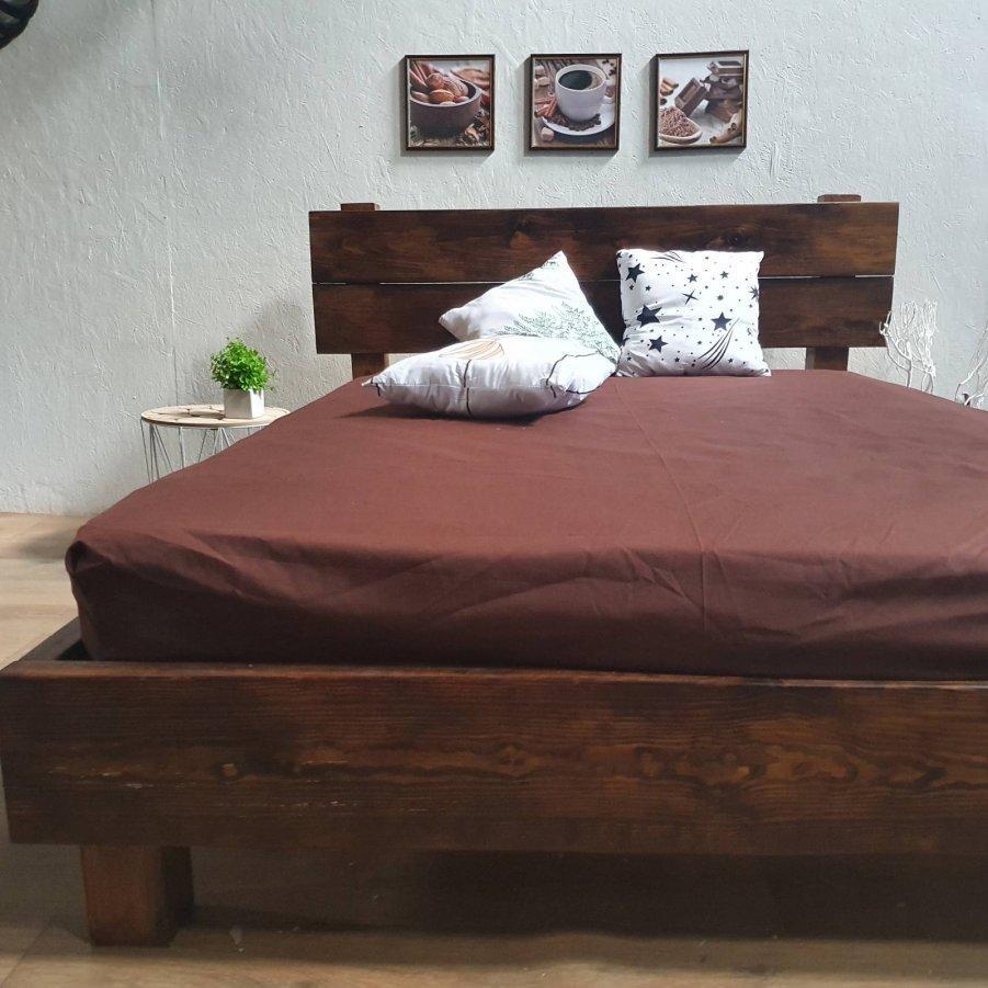 Простирадло на гумці з Бязі Голд - Колір коричневий - 90х200 см
