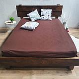 Простирадло на гумці з Бязі Голд - Колір коричневий - 90х200 см, фото 3