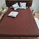Простирадло на гумці з Бязі Голд - Колір коричневий - 90х200 см, фото 4