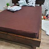 Простирадло на гумці з Бязі Голд - Колір коричневий - 90х200 см, фото 5