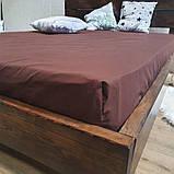 Простыня на резинке из Бязи Голд - Цвет коричевый - 160х200 см, фото 2