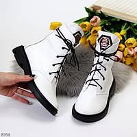 Эффектные модельные белые женские ботинки из натуральной кожи флотар низкий ход, фото 1