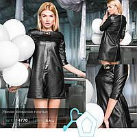 Кожаное черное платье мини 48,50,52