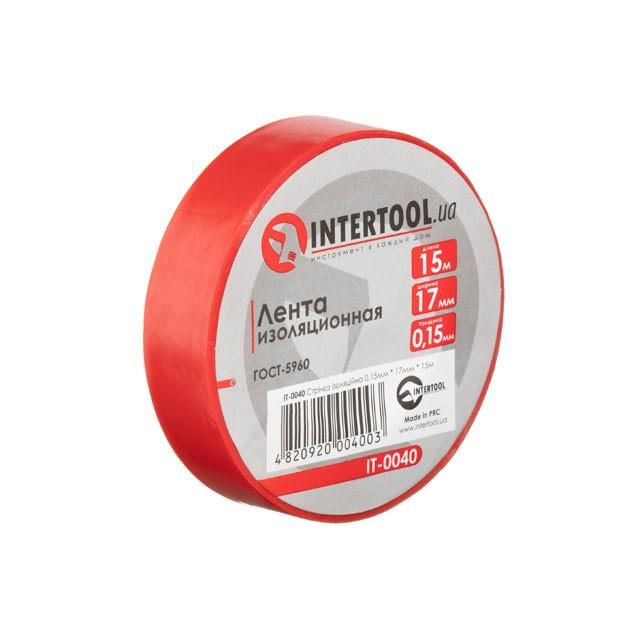 Стрічка ізоляційна 0.15 мм*17мм*15м червона INTERTOOL IT-0040