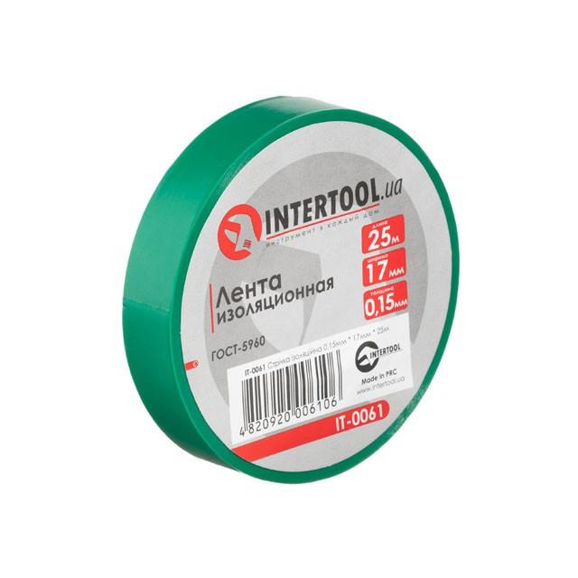 Стрічка ізоляційна 0.15 мм*17мм*25м зелена INTERTOOL IT-0061
