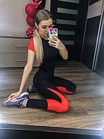 Женский фитнес костюм черный с футболкой