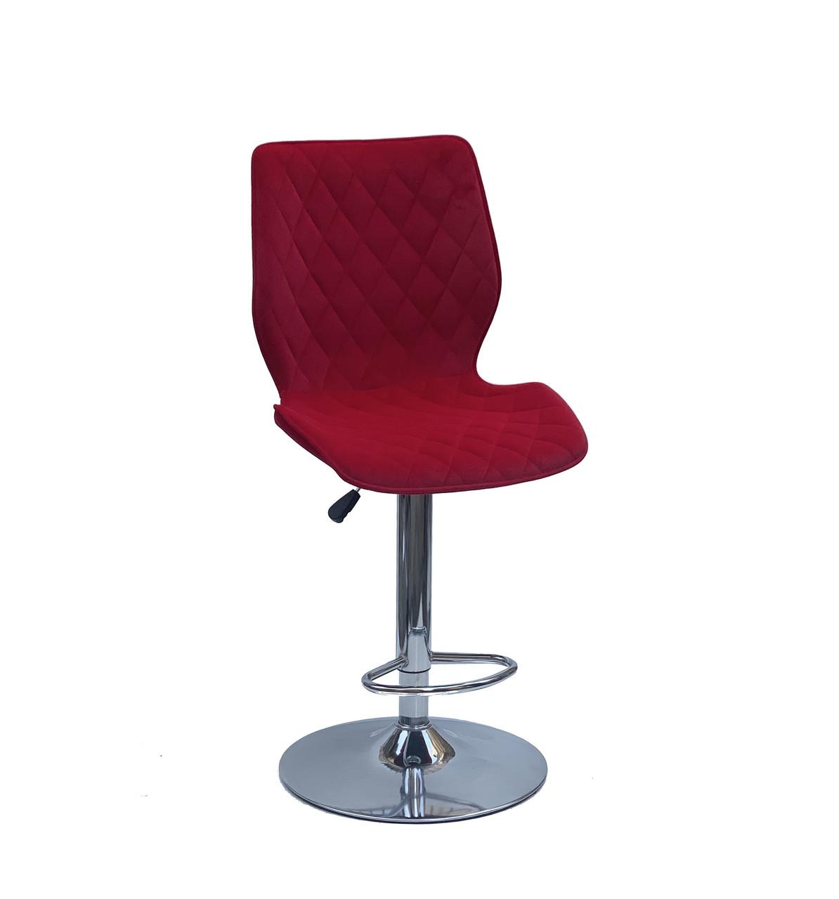 Барний стілець Тоні TONI BAR CH - BASE бордово - червоний оксамит, стілець для візажу