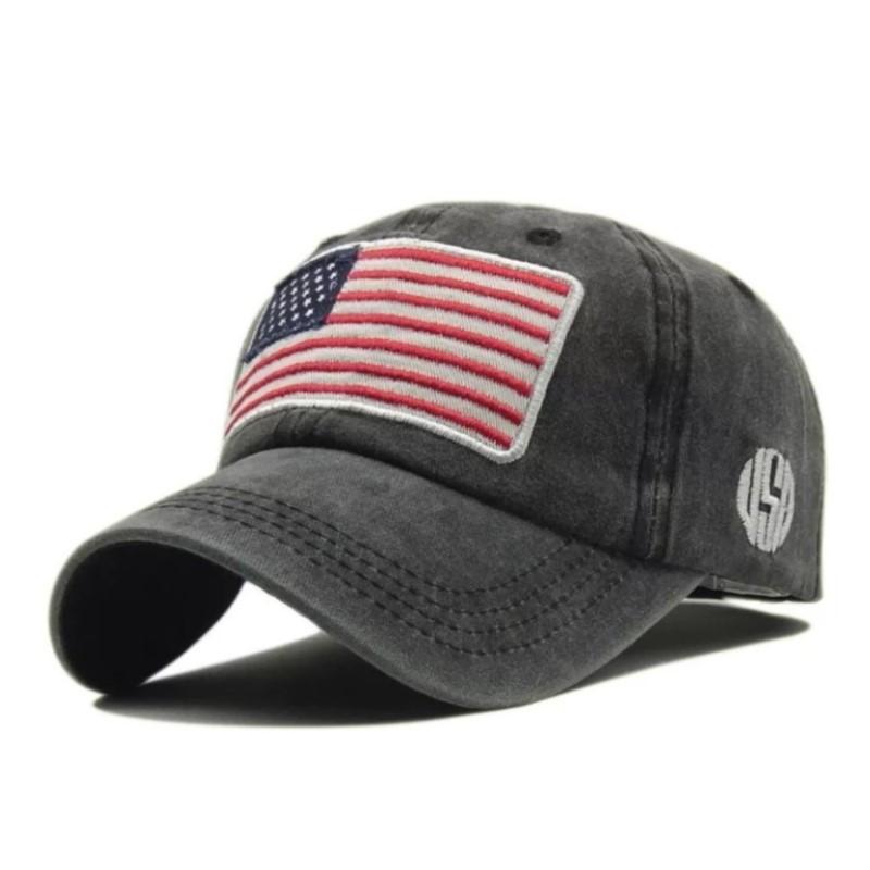 Кепка бейсболка флаг Америка (USA) Черная 2, Унисекс