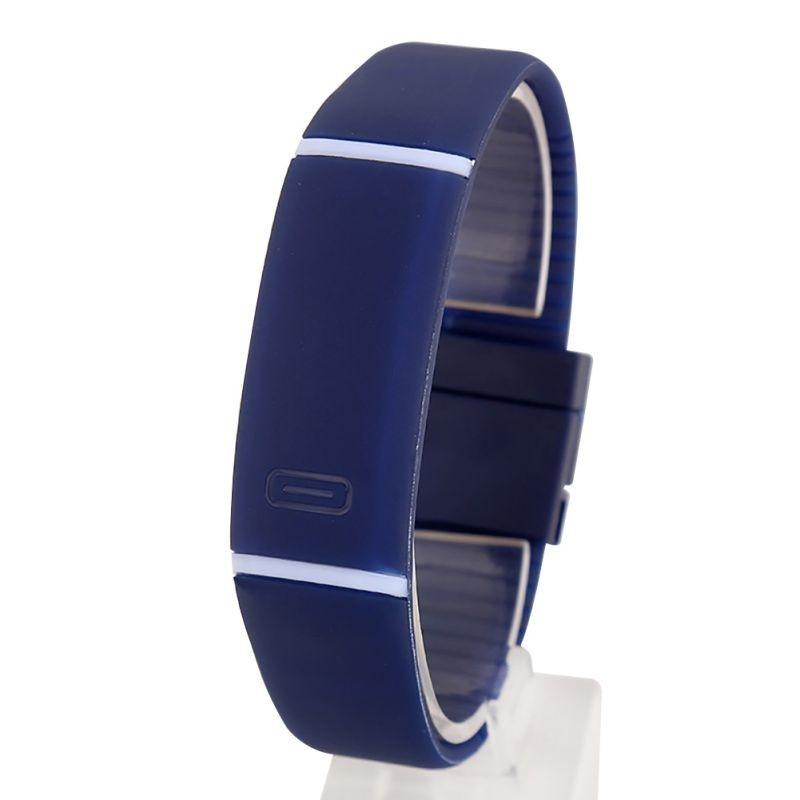 Спортивные силиконовые водонепроницаемые наручные LED часы - браслет 2 в 1, Темно - синий, Унисекс
