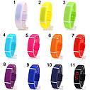 Спортивные силиконовые водонепроницаемые наручные LED часы - браслет 2 в 1, Темно - синий, Унисекс , фото 2