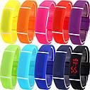 Спортивные силиконовые водонепроницаемые наручные LED часы - браслет 2 в 1, Темно - синий, Унисекс , фото 3