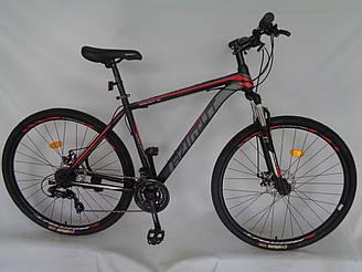 Спортивний гірський велосипед 29 дюймів Azimut 40D Shimano GD 20 рама чорно-червоно-сірий