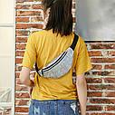 Блестящая женская сумка бананка Голограмма, Серебряная, фото 8