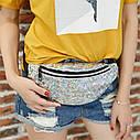 Блестящая женская сумка бананка Голограмма, Серебряная, фото 9