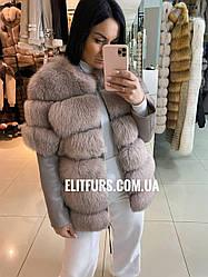 Куртка из натуральной кожи с мехом песца, размер М,L