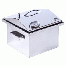 Коптильня двоярусна з гідрозатворів і термометром для гарячого копчення (300х300х250мм), нержавіюча сталь