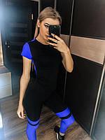 Женский черный костюм для фитнеса с футболкой и лосинами hjpjdjuj wdtnf