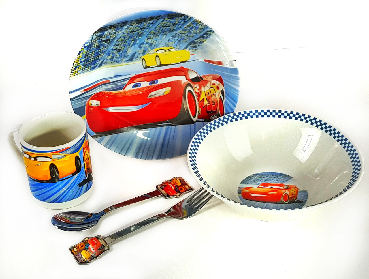 Набор детской керамической посуды Тачки 5 предметов Cars Yellow 2