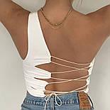 Жіночий топ на одне плече зі шнурівкою на спині (р. 42-44) 8317396, фото 7