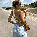 Жіночий топ на одне плече зі шнурівкою на спині (р. 42-44) 8317396, фото 5