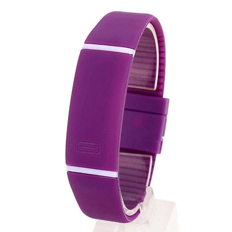 Спортивні силіконові водонепроникні наручний LED годинник - браслет 2 в 1 1, Фіолетовий, Унісекс