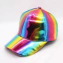 Кепка бейсболка Блестящая Голограмма Черная, Унисекс, фото 6