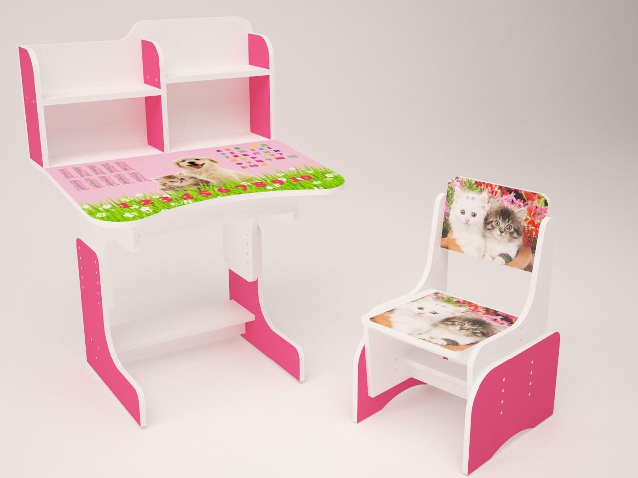 Детская парта растишка со стульчик для девочки от 2 до 14 лет 060 Котик с собачкой малиновая