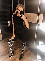 Женский спортивный костюм с ярким принтом, лосины высокая посадка