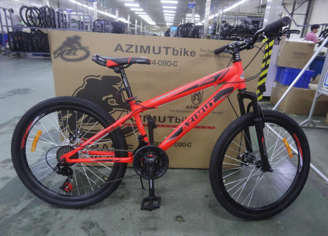 Спортивный горный велосипед 26 дюймов Azimut Extreme D красный