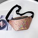 Женская сумка бананка (Кружочки), Серебряная 1, фото 5