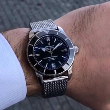 Мужские наручные часы металлические Breitling B20 Silver-Back(small hour hand) Серые часы с черным циферблатом, фото 2