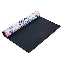 Коврик для йоги Замшевый каучуковый двухслойный 3мм Record FI-5662-6 (размер 1,83мx0,61мx3мм, розовый, с, фото 2