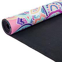 Коврик для йоги Замшевый каучуковый двухслойный 3мм Record FI-5662-6 (размер 1,83мx0,61мx3мм, розовый, с, фото 3