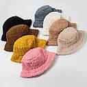Женская меховая зимняя шапка панама теплая плюшевая пушистая (Тедди, барашек, каракуль) Коричневая, фото 2