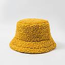 Женская меховая зимняя шапка панама теплая плюшевая пушистая (Тедди, барашек, каракуль) Коричневая, фото 8