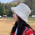 Женская меховая зимняя шапка панама теплая плюшевая пушистая (Тедди, барашек, каракуль) Коричневая, фото 10