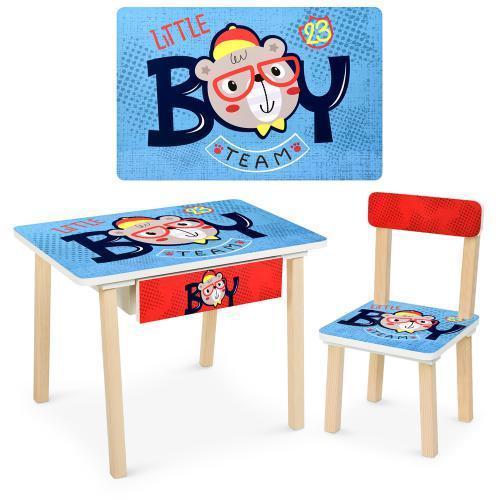 Детский столик деревянный со стульчикм 803-3 Boy